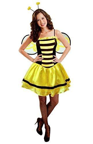 Biene Damen Karneval Kostüm Fasching 3 tlg. Kleid mit Flügel und Haarreif (Bienen Erwachsenen Flügel)