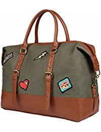 2AM Women Denim,Canvas And Faux LeatherTavel Essentials/Travel Bags (Brown-Grey)