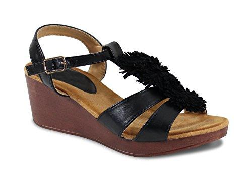 By Shoes Sandale Fleuris Style Cuir - Femme Black