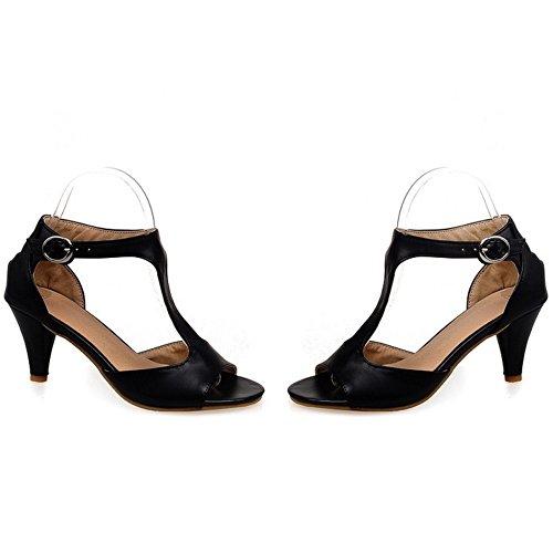 TAOFFEN Femme Classiques Bout Ouvert Bride T Kitten Heel Sandales Noir