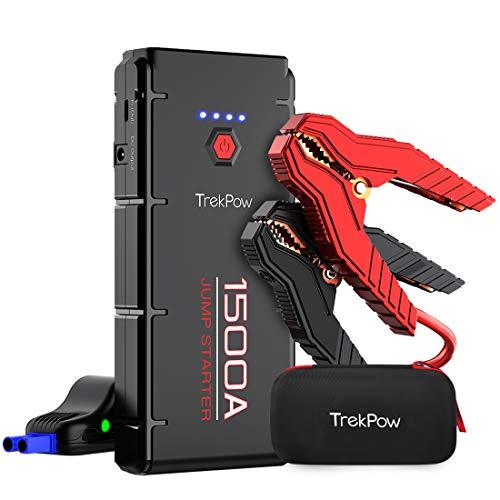 TrekPow G22 Starthilfe Powerbank, 1500A Spitze[3.GenerationmitQDSP]Auto-Batterie-Booster mit intelligentem kabel für alle Benzin/6.5L Dieselmotoren, Typ C, DC-Ausgang, LED-Taschenlampe Batterie Booster-kabel
