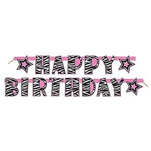 Partido Ênico 5 pies de zebra Feliz cumpleaños Banner