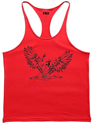 Alivebody Männer Ärmelloses Bodybuilding Weste Tank Top Undershirt Schwarz+Rot