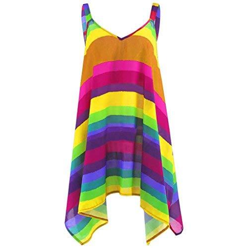 iHENGH Damen Sommer Übergröße Stripe Hosenträger Pullover Ärmellose Unregelmäßige Hem Swing Weste Tank Shirt Tops Bluse (5XL, Gelb)
