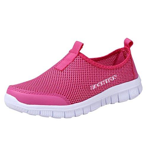 FNKDOR Damen Mesh Schuhe Atmungsaktiv Sport Freizeitschuhe Gymnastikschuhe Aquaschuhe Badeschuhe (36, Rosa)