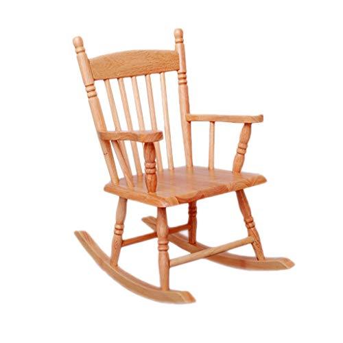 YX Rocking chair Kinderschaukelstuhl aus massivem Holz Lässig Baby kleiner Schaukelstuhl im mediterranen Stil -