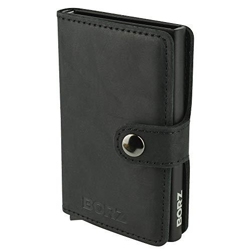 BORZ Prime - Mini Wallet | Kartenetui mit RFID Schutz | Extrem leicht & kompakt | Premium Herren Geldbörse mit Kartenhalter | Geldbeutel für Karten & Scheine aus Echtleder - Aluminium-sicherheits-geldbörse