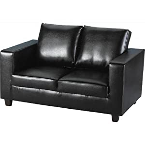 Tempo 2 Seater PU Sofa Seat Upholstery: Black