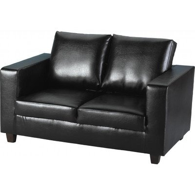 Tempo 2 Seater PU Sofa Seat Upholstery: Black