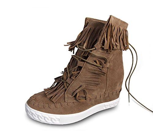 if she Damen Schuhe Halbstiefel mit 7cm Innen-Keilabsatz Wildleder-Optik mit Fransen, Farbe:Rosa, ()
