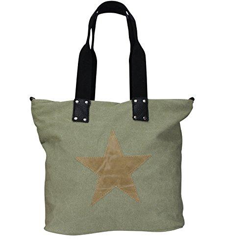 Damen FASHION Handtasche Sterne Canvas TOP TREND Tragetasche (Olivgrün/Beige) (Clutch Bag Wallet)