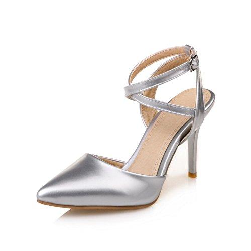 Heels Hochzeit Silberne (KPHY-Baotou Sandalen High Heels Einfach Ihren Frauen Schuhe Dünne Sohle Schuhe Leere Schuhe Schuhe Schuhe Silber - Hochzeit Im Sommer Leer 39 Die Silbernen)