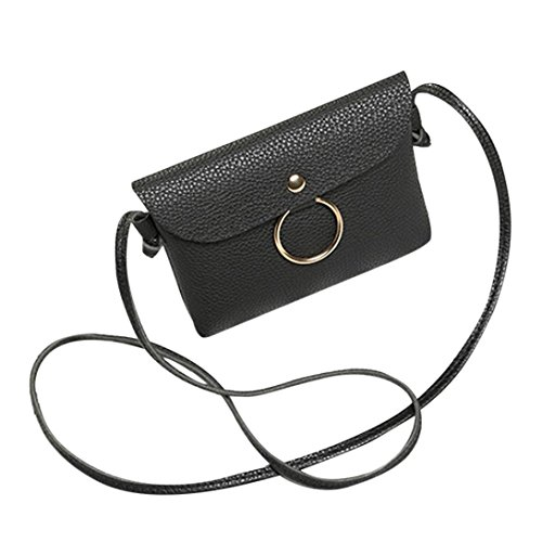 Longra La borsa del messaggero del modello del lichee dellanello delle donne Nero