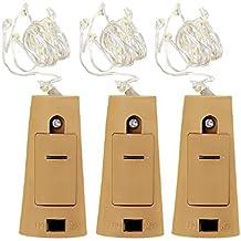 3PCS 75cm 15-LED Guirlandes Lumineuses à Bouchon Batteries Incluses Fil De Cuivre Chaine De Lampes Décoration de Soirée Noël Marriage Chambre Repas ( Blanc Chaud )