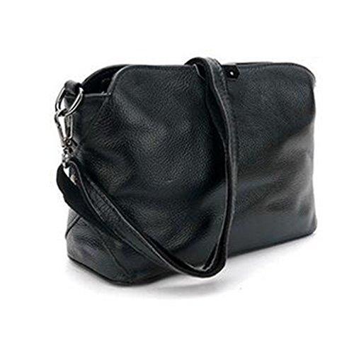 MeiliYH Sacchetto Semplice Diagonale Cerniera Pacchetto Di moda Tracolla in Pelle Ladies Nero