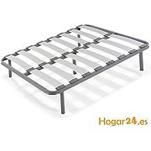Hogar24.es-Somier laminas madera haya vaporizadas con tacos anti-ruido, tubo de acero 40 x 30 con juego de 4 patas roscadas incluido de altura 32cm-90X200
