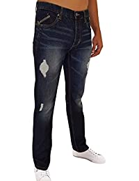 Jeans regular homme bleu coton