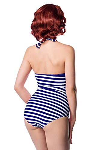 Sexy Vintage Badeanzug Retro Look Streifen Muster Rot Weiß Rot Rockabilly 50s Blau