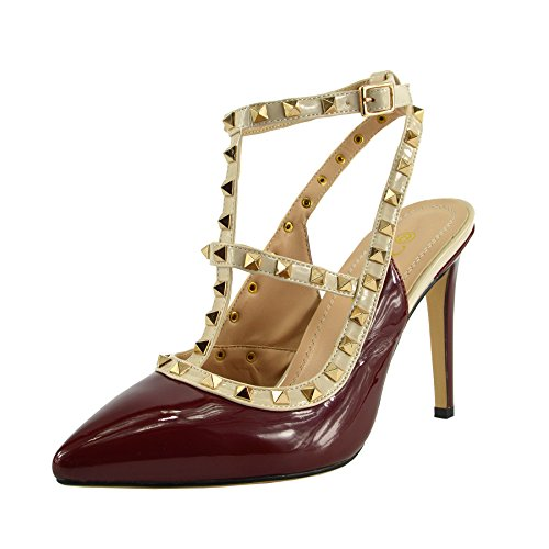Kick Footwear - Womens Scarpe Da Ufficio Tacco Basso Cinturino Alla Caviglia Partito Sera Scarpe Rosso Tacco Alto NF515