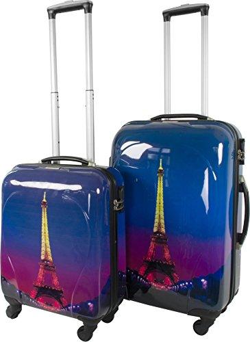 2Polycarbonat ABS Hartschalen Kofferset mit Motiv 2-tlg.? Farbe Paris Nightlife