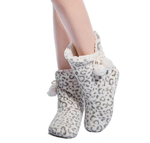 FRALOSHA Frau Pantoffeln zu Hause Stiefel - Stiefel Flauschige Weiß