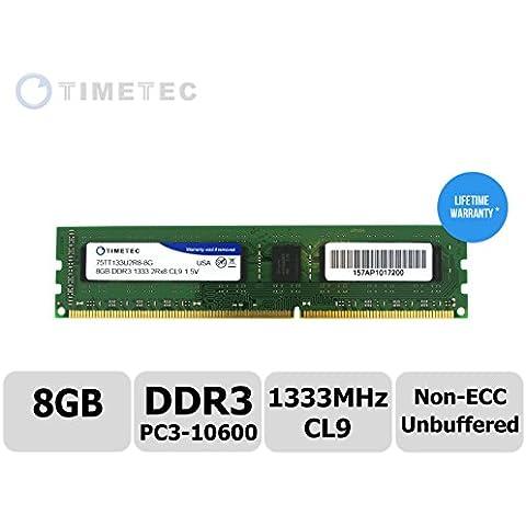 Timetec® (P/N 75tt133u2r8 - 8 G) 8 GB Dual Rank, 1333 MHz DDR3 (PC3 - 10600) Non-ECC sin búfer, CL9, 240-pin UDIMM 2RX8 512 x 8 1,5 V ordenador PC de sobremesa módulo de memoria RAM