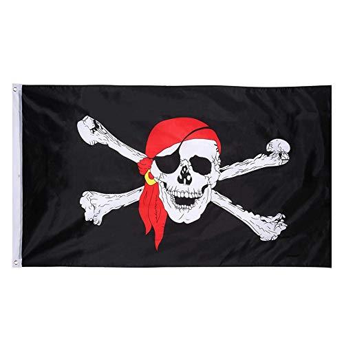 Polyester Banner schwarz Totenkopfflagge rot Turban Doppelmesser Flagge für Jolly Roger Halloween Pirat Themed Dekoration (3 x 1,5 Fuß) ()