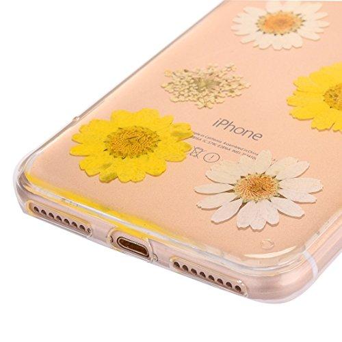 Wkae Epoxy Dripping gepresst echte getrocknete Blume weiche transparente TPU Schutzhülle für iPhone 7 ( SKU : Ip7g2996n ) Ip7g2996f