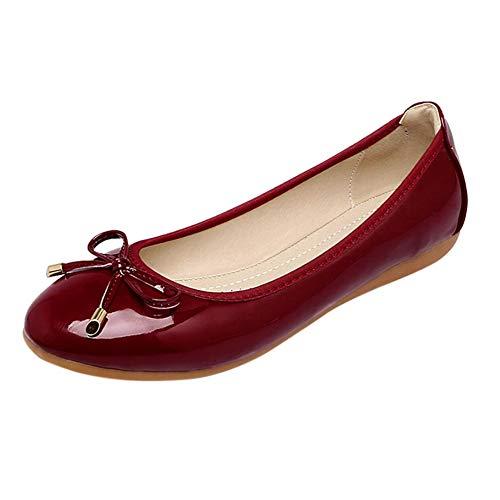 Gtagain Damen Schuhe Ballerinas - Rund Zeh Faux Lack Leder Mode Bogen Freizeit Komfortabel Wohnungen -