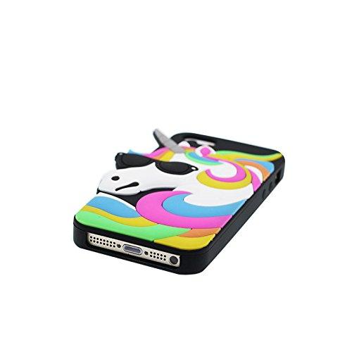 Case iPhone 5 Coque, TPU Material Flexible Étui iPhone 5G / SE / 5C / 5s Cover, Preuve de choc [ 3D Cartoon Licorne cheval unicorn Sunglasses ] - Pretty Soft # 1