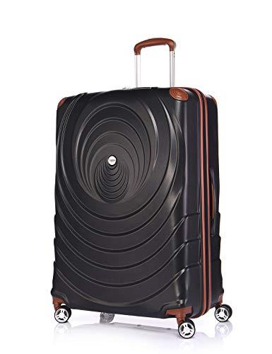 Verage Spiral ABS Hartschale Trolley L-28 Zoll-123L (75x52x30 cm) in Schwarz, 4x360 Grad Doppelrolle Reisekoffer, TSA integriert, erweiterbar