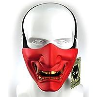 Atairsoft Máscara para disfraz de halloween, cosplay, BB, demonio, diablo, monstruo, kabuki, samurái, hannya, oni, máscara que cubre la mitad  de la cara, para airsoft, películas, Rojo