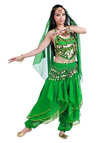 YiJee Halloween Costume da Donna per Danza del Ventre 5 Pezzi Buio Verde
