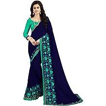 Glory Sarees Women's Chiffon Saree(kavya101_blue)