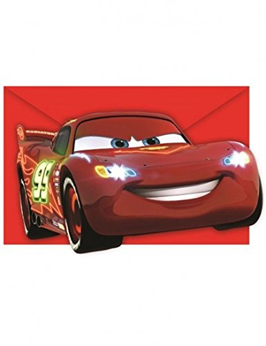 BABY-WALZ 6er-Pack Einladungskarten Cars Kindergeburtstag, mehrfarbig