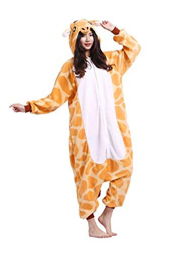 Magicmode Männer Frauen Tiere Strampelanzug Schlafanzug Cosplay Kostüme Erwachsene Kigurumi Hoodie Nachtwäsche Party Anime Kleid Giraffe S
