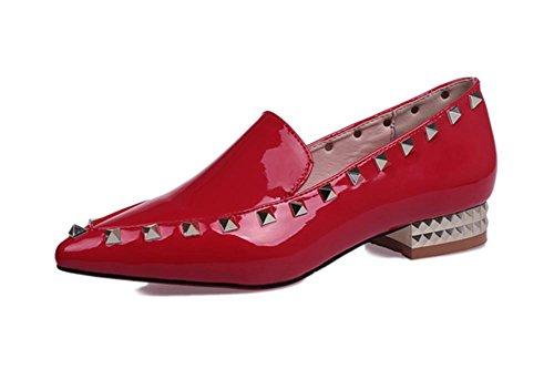 scarpe ascensore Ms. primavera con bassi donne scarpe singolo ha indicato i pattini poco profonda serie bocca di piedi di spessore con rivetti scarpe da donna Red