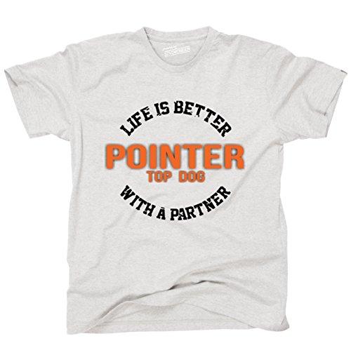 Siviwonder Unisex T-Shirt POINTER - LIFE IS BETTER PARTNER Hunde Ash