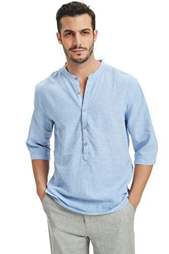 Najia symbol camicia di 55% lino uomo senza colletto coreana slim fit (blu, l)