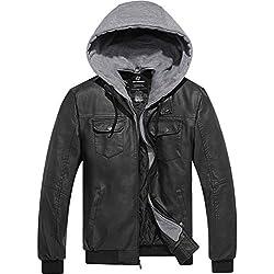 Wantdo Homme Veste Coupe-Vent en Cuir PU avec Capuche Amovible Blouson Simili Cuir Noir Large