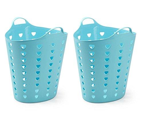 2 Stück XXL Wäschekorb, Mehrzweck Korb aus flexiblem Kunststoff. Mit einem Volumen von ca. 65 Liter pro Korb. Gelocht in tollem Blau.