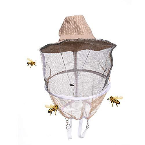 ABEDOE Imker-Hut, Imkerei-Anti-Moskito-Bienen-Wanzen-Insekten-Fliegen-Kopf-Netz-Hut mit Kopf-Netz-Maschen-vollem Gesichts-Hals-Abdeckungs-im Freienfischen-Imkerei-kampierendes Wandern (Gesicht Wie Glas)