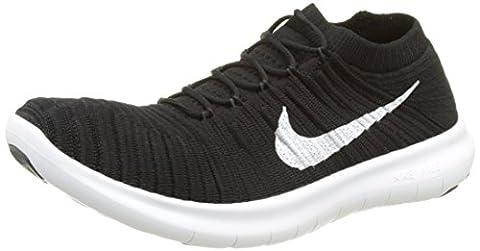 Nike Herren Free Rn Motion Flyknit Laufschuhe, Schwarz (Black/White Volt Dark Grey), 43 EU