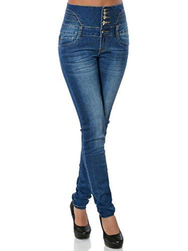 Damen High-Waist Jeans Skinny Hose Hoher Bund Röhre No 15838, Farbe:Blau, Größe:L / 40 (Taille Hose Jeans)