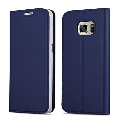 Cadorabo Hülle für Samsung Galaxy S7 - Hülle in DUNKEL BLAU - Handyhülle mit Standfunktion und Kartenfach im Metallic Look - Case Cover Schutzhülle Etui Tasche Book Klapp Style Samsung Blau Case