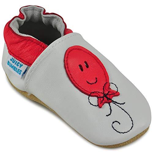 Juicy Bumbles - Weicher Leder Lauflernschuhe Krabbelschuhe Babyhausschuhe mit Wildledersohlen. Junge Mädchen Kleinkind- Gr. 12-18 Monate (Größe 22/23)- Erdbeere -