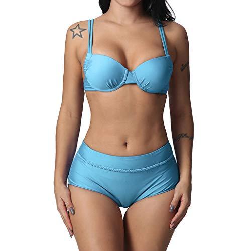 Bikini Set Push Up Amoyl Damen Pure Color Push Up Gepolsterter BH + Bikinihose Zweiteiliger Badeanzug Beachwear (Hellblau, S)