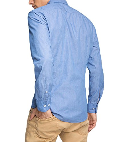 ESPRIT Gestreift - Chemise Casual - coupe cintrée - Manches Longues - Homme Bleu (DARK BLUE 405)
