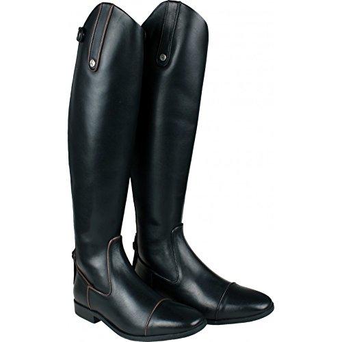 QHP Damen Luxus Leder-Reitstiefel Celina Paspel schwarz + schwarz-braun normale Wadenweite Braun