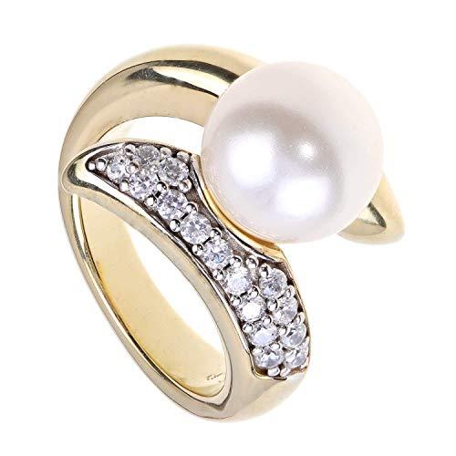 Pfeffinger Damen Ring Sterling-Silber 925 goldplattiert Südsee Muschelkern-Perle CZ Zirkonia RW16